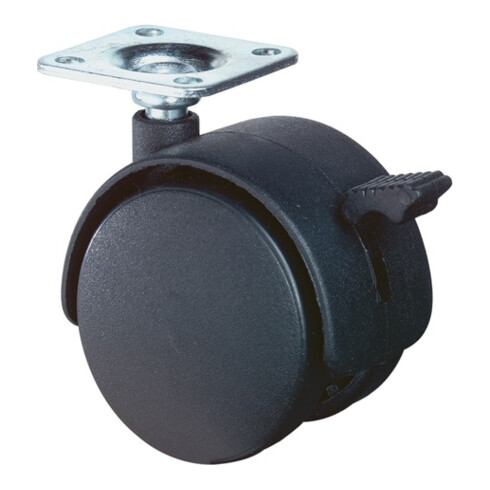BS Kunststoffdoppelrolle m.Feststeller D.40mm Trgf. 30kg m.Platte Polyamidrad grau