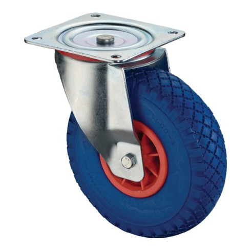 BS Lenkrolle D.400mm Trgf. 200kg m.Platte Radkörper Ku.Polyurethan blau