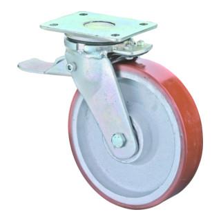BS Rollen Schwerlastrolle Lenkrolle mit Rad-/Totalfeststeller Tragfähigkeit 400 kg D.100 mm