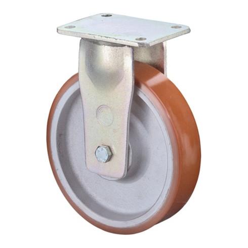 BS Schwerlast-Bockrolle D.200mm Trgf. 1400kg Guß-Polyurethan Platte L200xB160mm