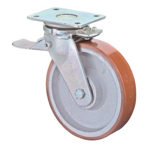 BS Schwerlastlenkrolle D.200mm Trgf. 1400kg m.Feststeller Guß-PU Platte L200xB160mm