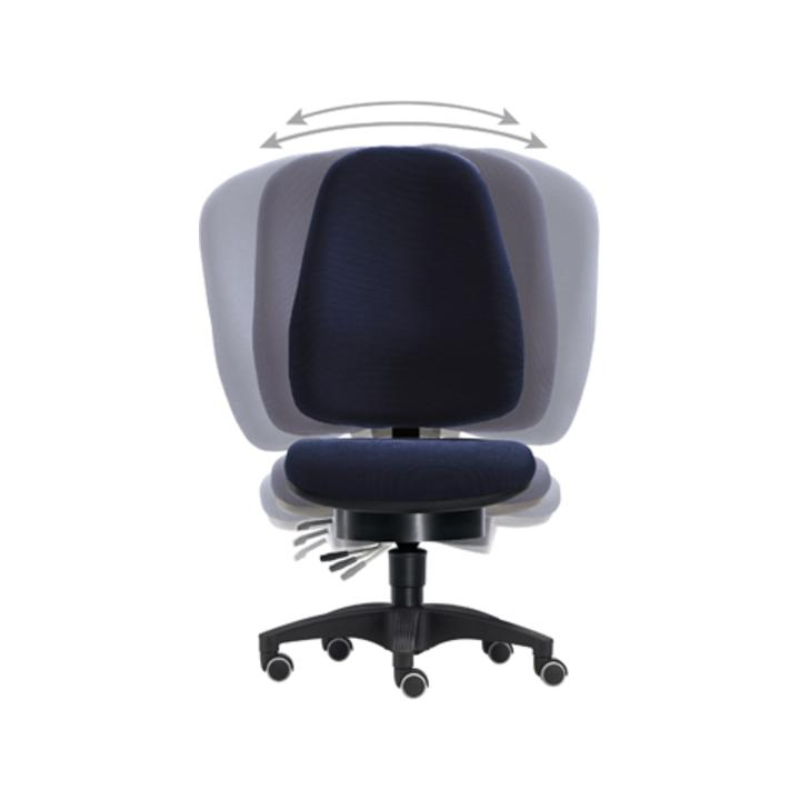 Bürodrehst., Pending-Technik, Wannen-Sitz-BxTxH 500x450x430-530 mm, Fußkr. Polymid schwarz, Bezug bl  au