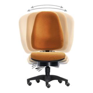 Sitwell Bürodrehst., Pending-Technik, Wannen-Sitz-BxTxH 500x450x430-530 mm, Fußkr. Polymid schwarz, Bezug or  ange