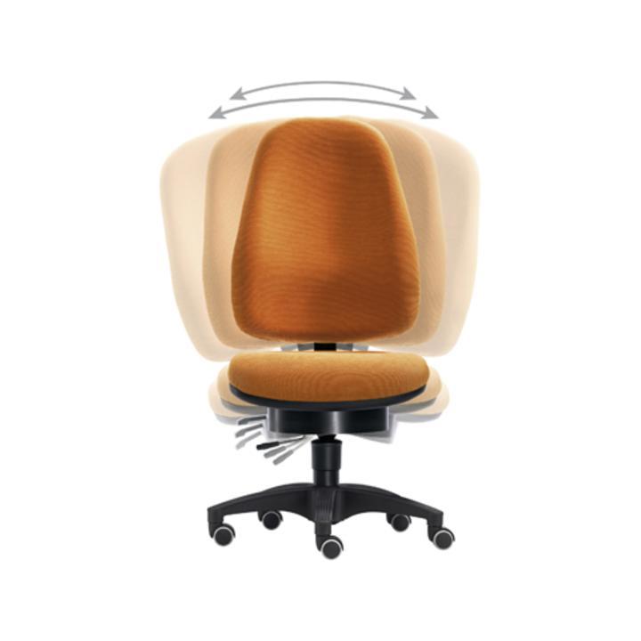Bürodrehst., Pending-Technik, Wannen-Sitz-BxTxH 500x450x430-530 mm, Fußkr. Polymid schwarz, Bezug or  ange
