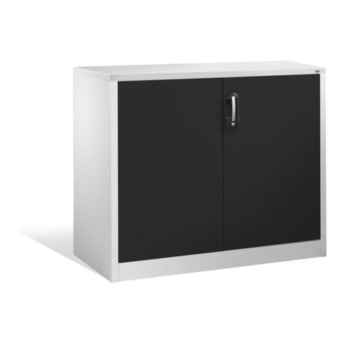 C+P Akten-Sideboard Acurado mit Drehtüren, 2 Ordnerhöhen, H1000xB1200xT500mm Front Schwarzgrau Korpus Lichtgrau