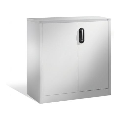 C+P Akten-Sideboard Acurado mit Drehtüren, 2 Ordnerhöhen, H1000xB930xT500mm Weißaluminium