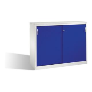 C+P Akten-Sideboard Acurado mit Schiebetüren und Mitteltrennwand Front Lapisblau Korpus Lichtgrau