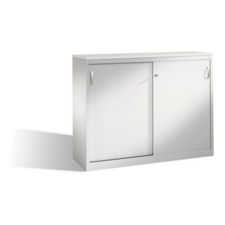 C+P Akten-Sideboard Acurado mit Schiebetüren mit Mitteltrennwand Front Weißaluminium