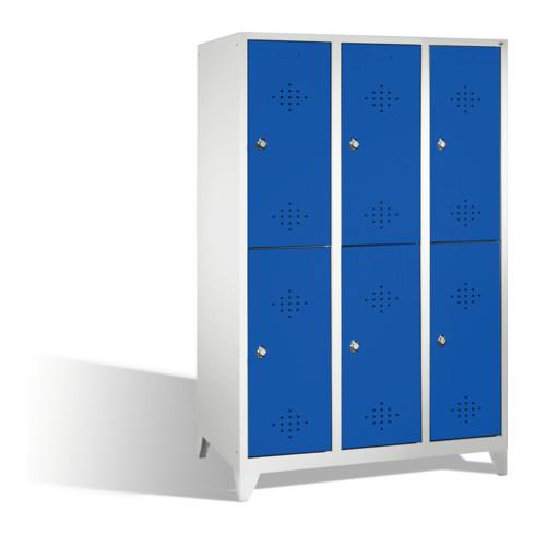 C+P Doppelstockspind Classic auf Füßen 6 Fächer Front Enzianblau Korpus Lichtgrau