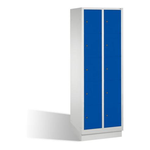 C+P Fächerschrank Classic auf Sockel 10 Fächer Front Enzianblau Korpus Lichtgrau