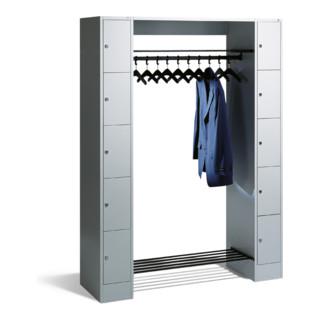 C+P Offene Garderobe mit Schließfächern für 10 Personen, H1950xB1430xT480mm Front Lichtgrau Korpus Lichtgrau