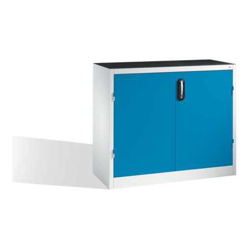 C+P Schwerlast-Beistellschrank mit Drehtüren, innen 1 Boden, H1000xB1200xT500mm Front Lichtblau Korpus Lichtgrau