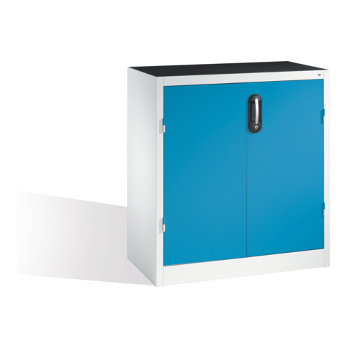 C+P Schwerlast-Beistellschrank mit Drehtüren, innen 1 Boden, H1000xB930xT500mm Front Lichtblau Korpus Lichtgrau