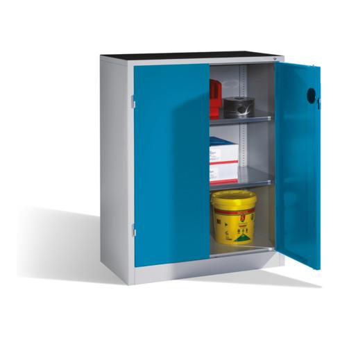 C+P Schwerlast-Beistellschrank mit Drehtüren, innen 2 Böden, H1200xB930xT500mm Front Lichtblau Korpus Lichtgrau