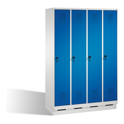 C+P Umkleidespind Evolo auf Sockel 4 Abteile Front Enzianblau Korpus Lichtgrau
