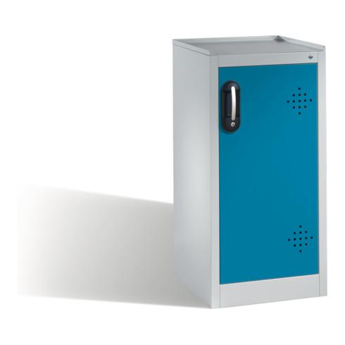 C+P Umwelt-Beistellschrank mit Drehtür, 2 Polyethylen-Wannen, H1020xB500xT500mm Front Lichtblau Korpus Lichtgrau
