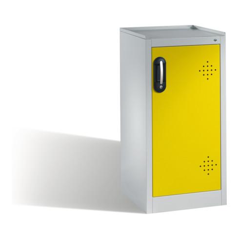 C+P Umwelt-Beistellschrank mit Drehtür, 2 Polyethylen-Wannen, H1020xB500xT500mm Front Verkehrsgelb Korpus Lichtgrau