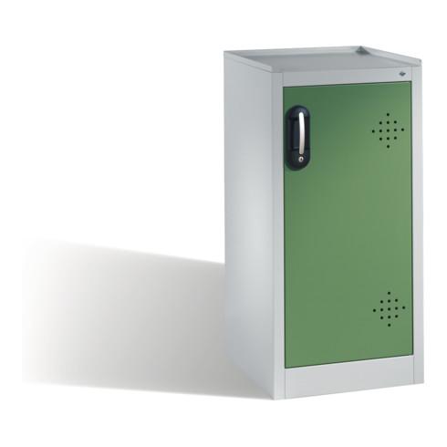 C+P Umwelt-Beistellschrank mit Drehtür, 2 Wannenböden, H1020xB500xT500mm Front Resedagrün Korpus Lichtgrau
