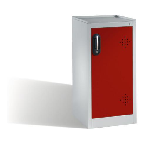 C+P Umwelt-Beistellschrank mit Drehtür, 2 Wannenböden, H1020xB500xT500mm Front Rubinrot Korpus Lichtgrau