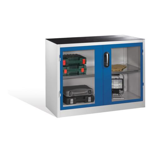 C+P Werkzeug-Beistellschrank mit Sichtfenster-Drehtüren, 1 Boden, H1000xB1200xT500mm Front Enzianblau Korpus Lichtgrau