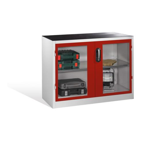 C+P Werkzeug-Beistellschrank mit Sichtfenster-Drehtüren, 1 Boden, H1000xB1200xT500mm Front Rubinrot Korpus Lichtgrau