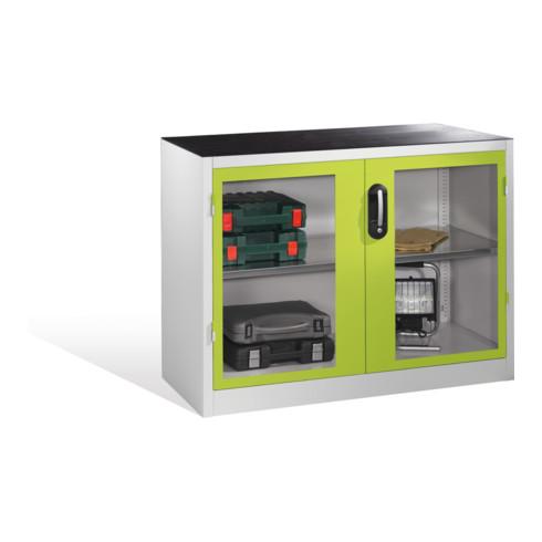 C+P Werkzeug-Beistellschrank mit Sichtfenster-Drehtüren, 1 Boden, H1000xB1200xT500mm Front Viridingrün Korpus Lichtgrau