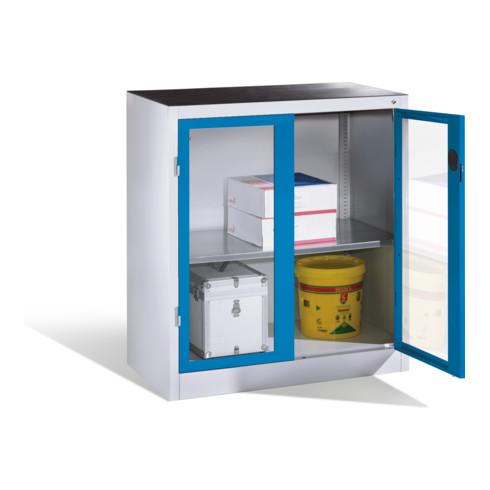 C+P Werkzeug-Beistellschrank mit Sichtfenster-Drehtüren, 1 Boden, H1000xB930xT500mm Front Lichtblau Korpus Lichtgrau