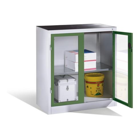 C+P Werkzeug-Beistellschrank mit Sichtfenster-Drehtüren, 1 Boden, H1000xB930xT500mm Front Resedagrün Korpus Lichtgrau