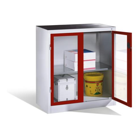 C+P Werkzeug-Beistellschrank mit Sichtfenster-Drehtüren, 1 Boden, H1000xB930xT500mm Front Rubinrot Korpus Lichtgrau