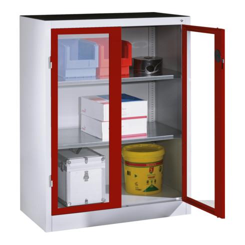 C+P Werkzeug-Beistellschrank mit Sichtfenster-Drehtüren, 2 Böden, H1200xB930xT500mm Front Rubinrot Korpus Lichtgrau