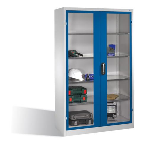 C+P Werkzeugschrank mit Sichtfenster-Drehtüren, innen 4 Böden, H1950xB1200xT500mm Front Enzianblau Korpus Lichtgrau
