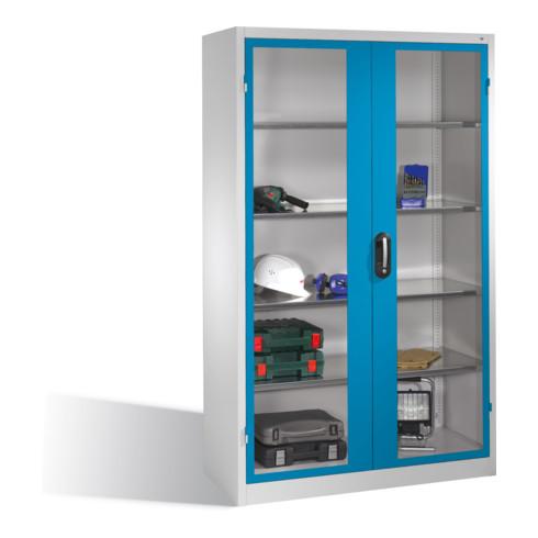 C+P Werkzeugschrank mit Sichtfenster-Drehtüren, innen 4 Böden, H1950xB1200xT500mm Front Lichtblau Korpus Lichtgrau