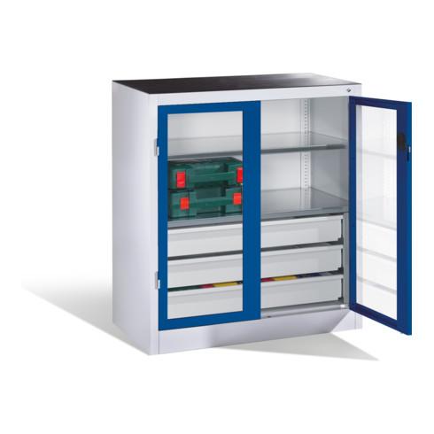 C+P Werkzeugschrank, Sichtfenster-Drehtüren, 2 Böden, 3 Schübe, H1000xB930xT500mm Front Enzianblau Korpus Lichtgrau