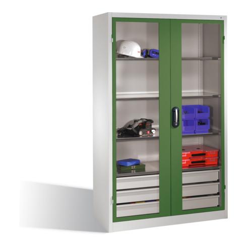 C+P Werkzeugschrank, Sichtfenster-Drehtüren, 3 Böden, 3 Schübe, H1950xB1200xT500mm Front Resedagrün Korpus Lichtgrau