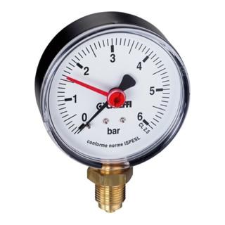 "Caleffi Manometer 557 0-10 bar, 1/4"", unten"