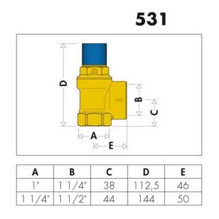 "Caleffi Membran-Sicherheitsventil 1"", 8 bar"