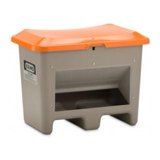 Cemo Streugutbehälter Plus3 unterfahrbar mit Entnahme grau/orange