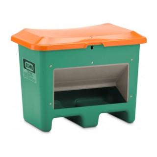 Cemo Streugutbehälter Plus3 unterfahrbar mit Entnahme grün/orange