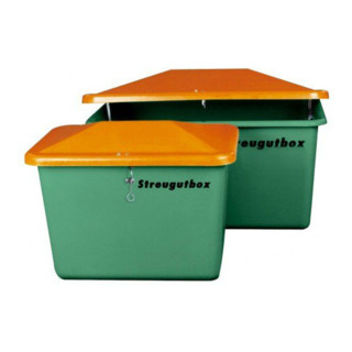 Cemo Streugutbehälter V mit Vandalismusdeckel ohne Entnahme grün/orange