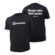 """Contorion T-Shirt schwarz """"Weniger reden. Mehr machen."""""""
