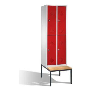 CP Doppelstöckiger Garderobenschrank Classic auf Sitzbank, 4 Fächer