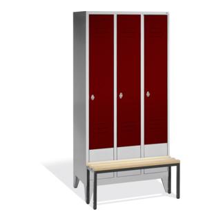 CP Garderobenschrank Classic mit Sitzbank, 3 Abteile