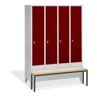CP Garderobenschrank Classic mit Sitzbank, 4 Abteile