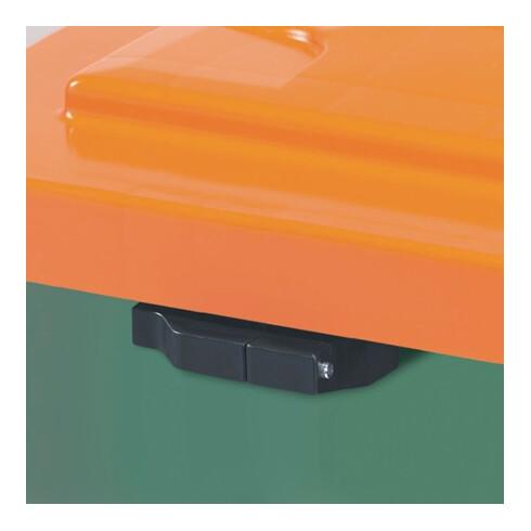 Craemer Streugutbehälter 210l 1000x700x500mm o.Entnahmerutsche Ku. grün/orange