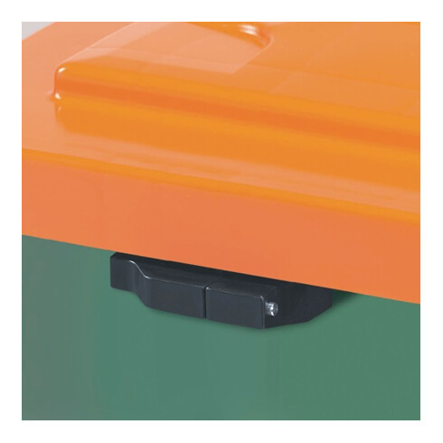 Craemer Streugutbehälter 400l 1000x700x850mm o.Entnahmerutsche Ku. grün/orange