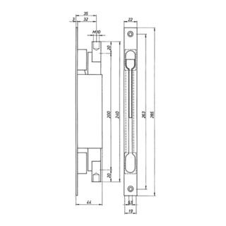 DENI Kantriegel 9221 Stulpl. 285mm Stulp-B.22mm STA verz. Hub 20mm