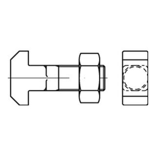 DIN 186 Form B Hammerkopfschraube m. Vierkant u. Mutter