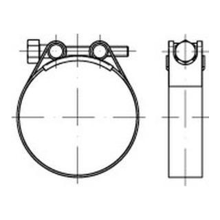 Schlauchschelle DIN 3017 mit Rundbolzen Sechskantspannschraube Form C