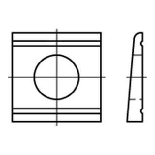 DIN 434 Keilscheibe vierkant Stahl 11mm feuerverzinkt für U-Träger