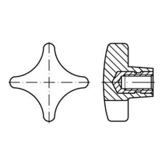 DIN 6335 Kunstst. schwarz K 50 M 10 Gewindebuchse Stahl gal Zn KU-St S